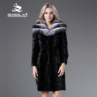 SISILIA 2016 Revisible Wearing Winter Women S Warm Weasel Mink Fur With 100 Chinchilla Fur Coat