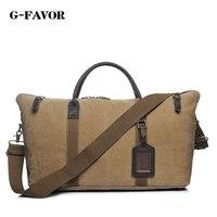G FAVOR Новый Повседневное Холст Кожа Для мужчин дорожные сумки выходные вести Чемодан сумки Для мужчин duffel сумки вещевой мешок Sac de Voyage