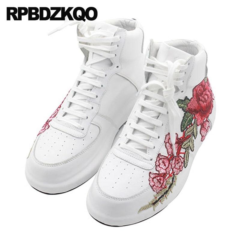 Floral Hip Rouge Loisirs Baskets Broderie Rue Creepers Hommes Britanniques Sneakers Chaussures Skate Style blanc Hop Fleur Rouge De Européenne dgww6S0x