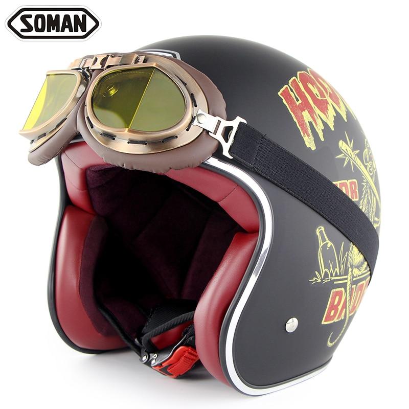 Мотоциклетный шлем Ретро полушлемы с очками Чоппер Винтаж открытое лицо Старая школа шлем мото какапете точка