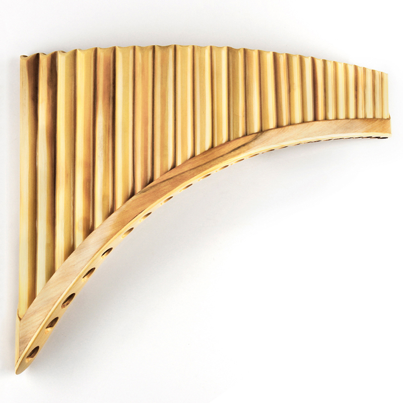 Upscale Right Hand Romanian Folk Instrument Natural Reed Pan Flute Panpipes 25 Pipes G Key Wind