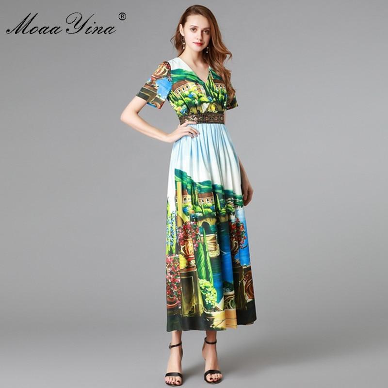 Moaayina 패션 디자이너 런웨이 드레스 여름 여성 짧은 소매 v 넥 시칠리아 풍경 인쇄 슬림 우아한 드레스 vestidos-에서드레스부터 여성 의류 의  그룹 3