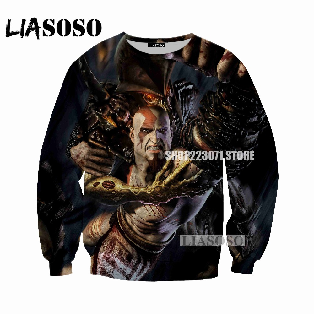 LIASOSO men and women sweatshirt game God of War 3D printing sweatshirt men and women fashion long-sleeved brand clothing M049