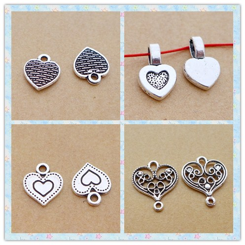 peach heart love alloy antique silver charm pendant choker DIY jewerly accessories making necklace 4styles 100pcs free shipping