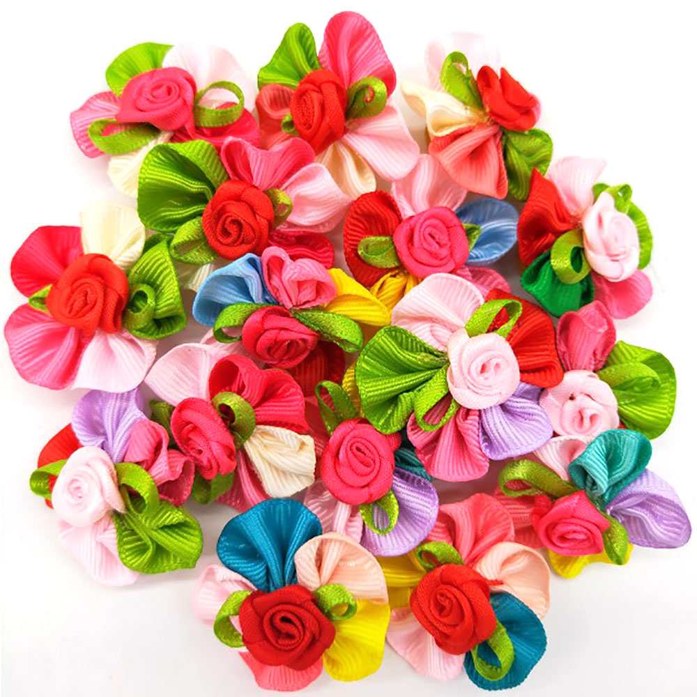 10 Pcs Fashion font b Pet b font Dog Cat Bob Hair Bows Mix Color Rose