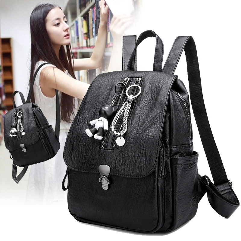 2017 new Backpack female Simple grace ashion all-match PU cloth bag bag capacity send small bear women mini backpack