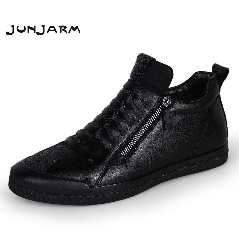 JUNJARM Men Boots Warm Plush Mens Winter Shoes Fashion Men Snow Boots Zipper Male Ankle Boots Black Cotton Inside Men Shoes