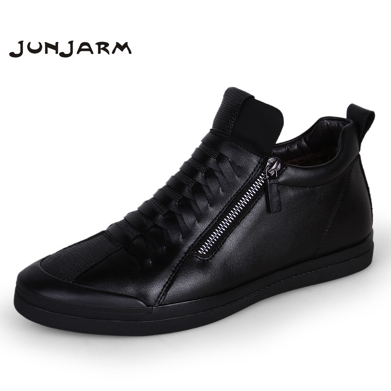Junjarm 2018 Males Boots Heat Plush Mens Winter Sneakers Vogue Males Snow Boots Zipper Male Ankle Boots Black Cotton Inside Males Sneakers