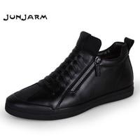 JUNJARM 2018 Men Boots Warm Plush Mens Winter Shoes Fashion Men Snow Boots Zipper Male Ankle Boots Black Cotton Inside Men Shoes