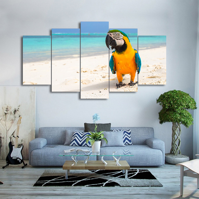 Wall Art Canvas HD Print Frame Pictures Home Decor Living Room 5 Pieces Resting Bird Parrot Painting Beach Color Feather Poster