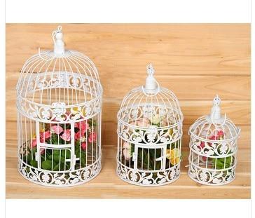 19 35c Vintage Birdcage Toy Decoration White Metal House Iron Decorative Bird Cages