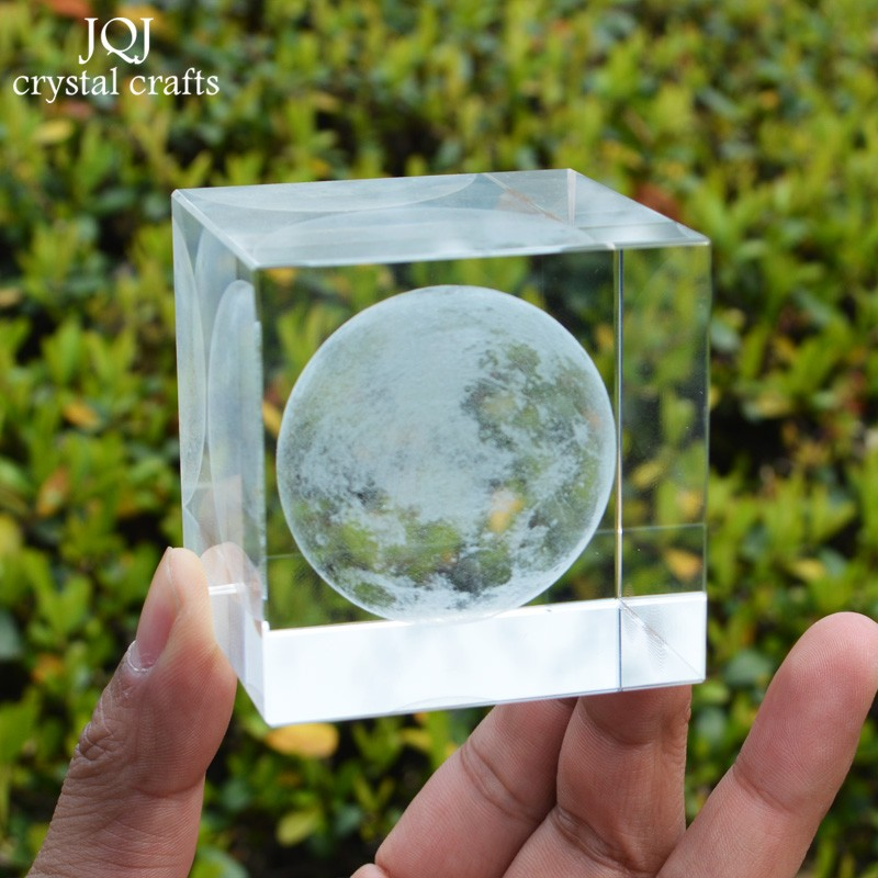 6cm 3d Moon Crystal Cube Laser Engraved Ornaments Glass Miniatures For Gifts Home Decoration Accessories Astronomical Craft Home Decor