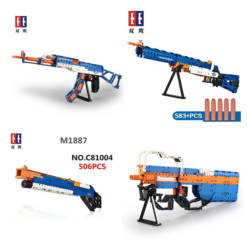 Lepin Pogo Bela SYC81001-4 Building Blocks of gun Soft bullet Bricks Compatible legoe Military wars weapon soldier Toys gift