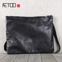 AETOO Mens handmade cowhide shoulder shouldered Baotou cowhide casual horizontal leather bag