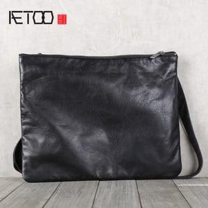 Image 1 - AETOO Mens handmade cowhide shoulder shouldered Baotou cowhide casual horizontal leather bag