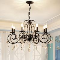 American Classic Crystal Pendant Lights Living Room Restaurant Bedroom Nordic Iron Candle Led Pendant Lamps 5