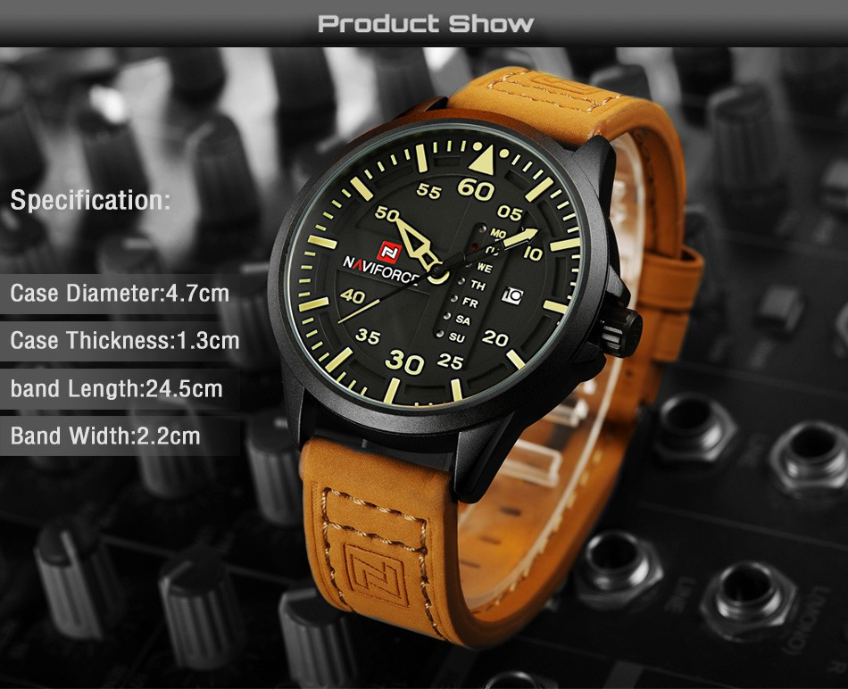 Naviforce CUR8106 Men Army Military Sports Watch Brown Leather Strap