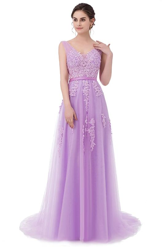 Robe De Soiree SSYFashion, кружевное, с бисером, сексуальное, с открытой спиной, длинное вечернее платье, для невесты, банкета, элегантное, длина до пола, для вечеринки, выпускного вечера - Цвет: Light purple