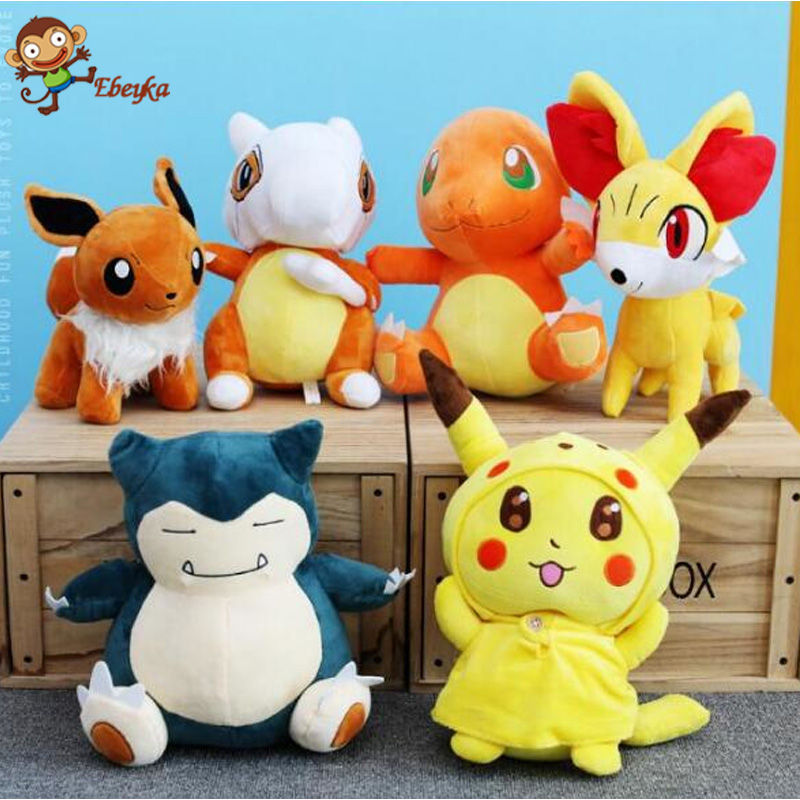 30cm Kawaii Pocket Monster Plush Toys Pikachu Charmander Gengar Bulbasaur Squirtle Dragonite Snorlax Stuffed Doll