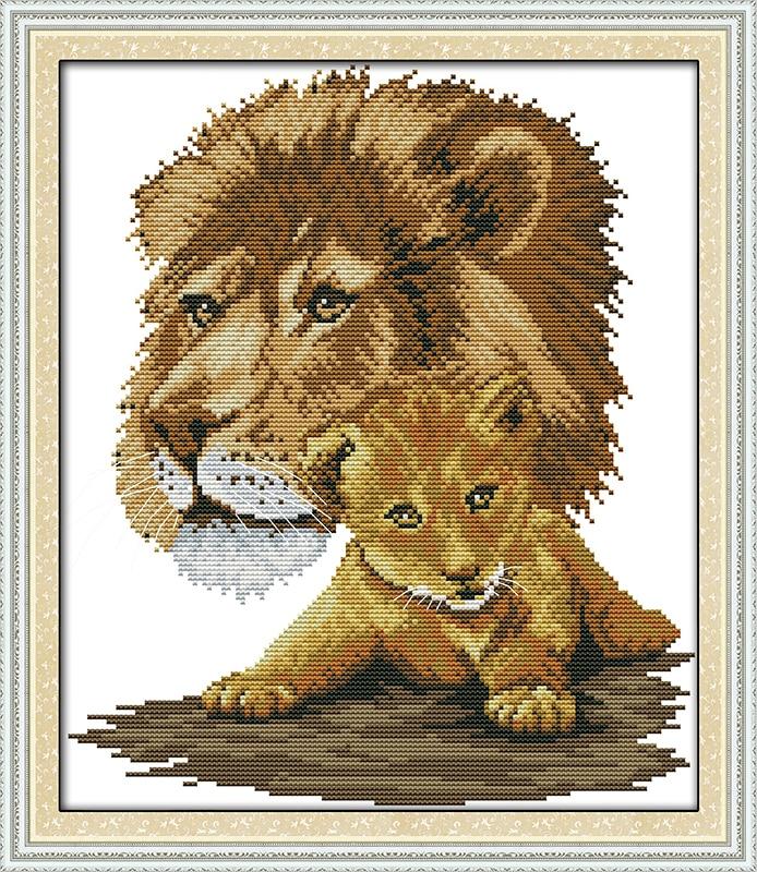 Lion Cartoon Cross Stitch Kits bedroom Painting pattern Printed 14CT Fabric Embroidery Needlework set Easy Cross-stitch Handmade