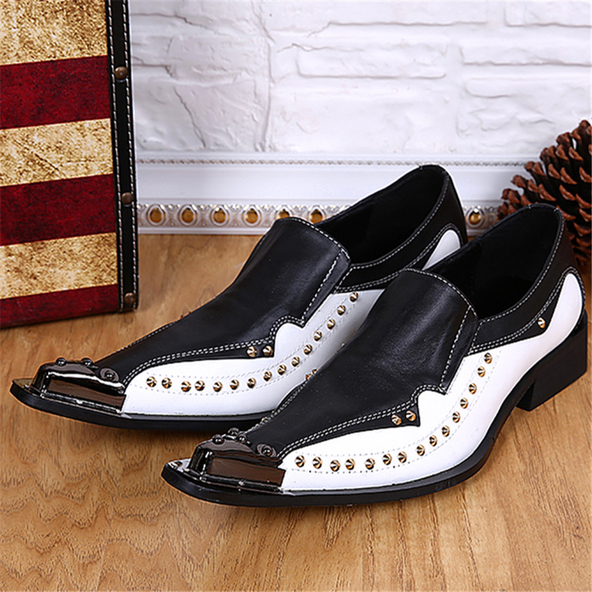 Fashion Men Genuine Leather Shoes Iron Pointed Toe Rivets Mens Oxfords Wedding Dress Party Slip On Shoes Zapatos Hombre Creepers men fashion oxfords pointed toe retro