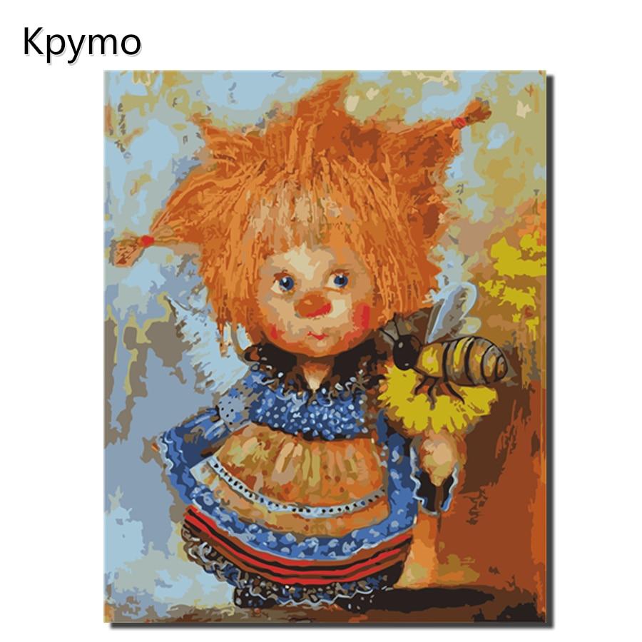 Malerei durch zahlen sunny engel mit eine sonnenblume färbung durch zahlen leinwand gemälde für die wohnzimmer wand kunst hause decor