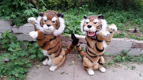 simulation animal large about 27cm x 43cm standing tiger model,lifelike tiger toy decoration gift t490 stuffed animal 110cm plush tiger toy about 43 inch simulation tiger doll great gift free shipping w018