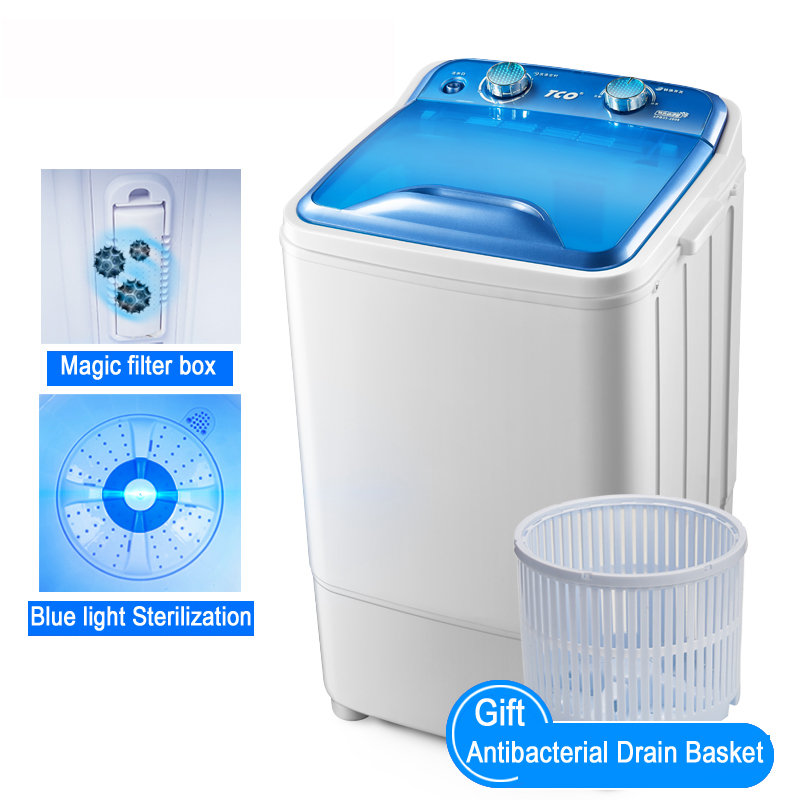 22%,3.5Kg Single Cylinder High Capacity UV Violet Bionic Hand Wash Small Semi-automatic Wave Wheel Mini Washing Machine AgateRed