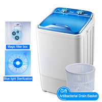 22%,3.5Kg Single Cylinder High Capacity UV Violet Bionic Hand Wash Small Semi automatic Wave Wheel Mini Washing Machine AgateRed
