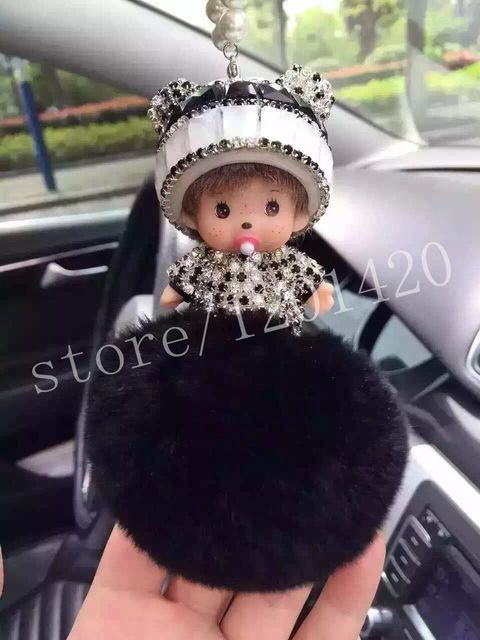 Black Monchhichi Rear View Mirror Charm  Cute Women Key chains Handmade Car Key Chains Bag Charm Tags Unique drill Girl Gifts