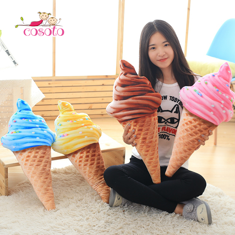 30CM New Design 3D Sweet Ice Cream Pillow Cushion Car Waist Support Cushion Soft Plush Stuffed Doll Toys Creative Pillow
