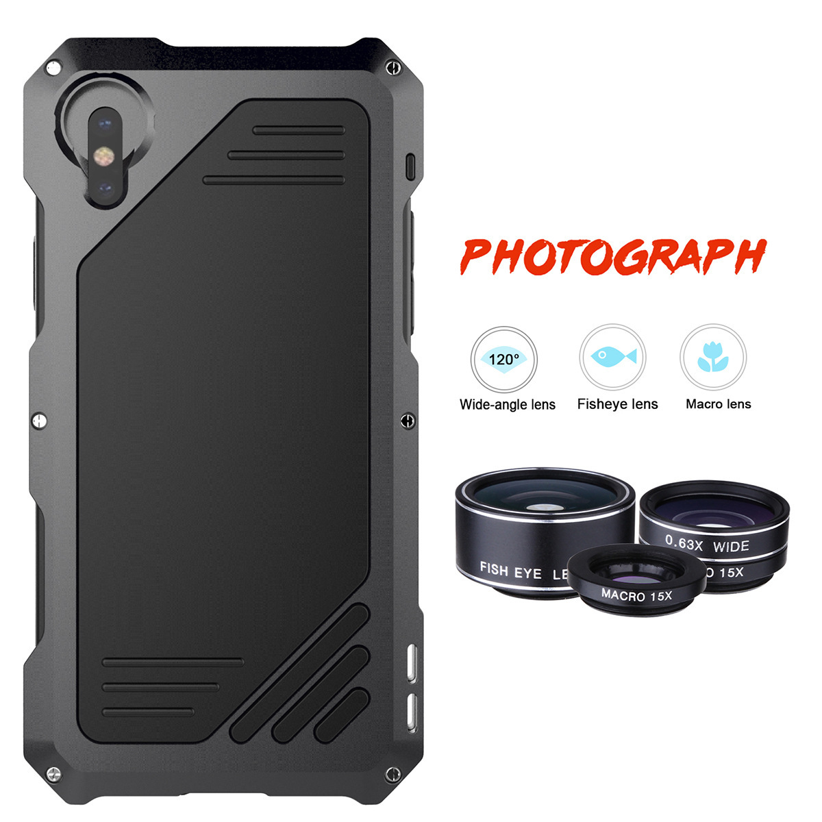 Three Lens 120 Wide angle Fisheye Macro Lens Photograph Phone Case for iphone X 5S 7 8 Plus Aluminum Alloy Anti knock Bumper