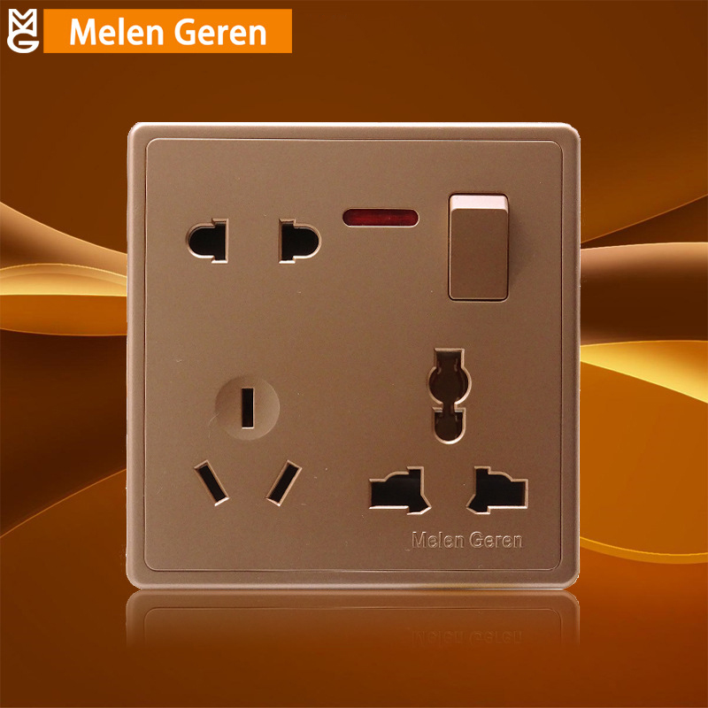Multifunction 1 Gang Wall Socket Switch Push Button 10A AC Power Plug Outlet Panel with Led Indicator Home