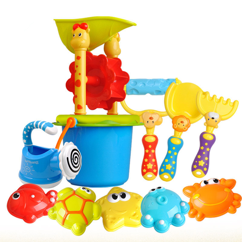 Watering Outdoor Beach Play Bath Toy Set New 11pcs Mix Color High Quality Bucket Rakes Sand Wheel Beach Toy For Children Gifts