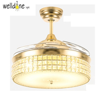 Modern Ceiling Fan Crystal Retractable Blades Remote Control With Lights invisible LED Folding Ceiling Fan Dining Room Lamp