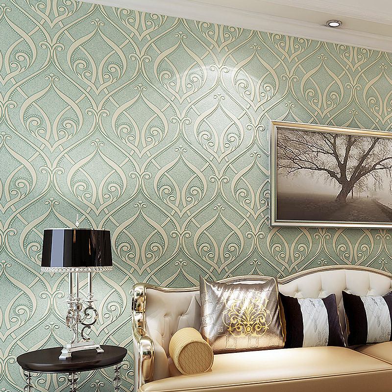 3D non-woven wallpaper European flocking flower roll bedroom wallpaper living room TV backdrop wall paper wall covering