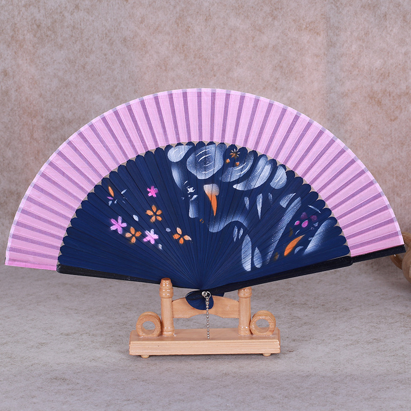 Handmade Inkjet Silk Hand Fan for Women Wedding Favor Fan Bamboo Japanese Folding Hand Fans Flowers Crafts Gift