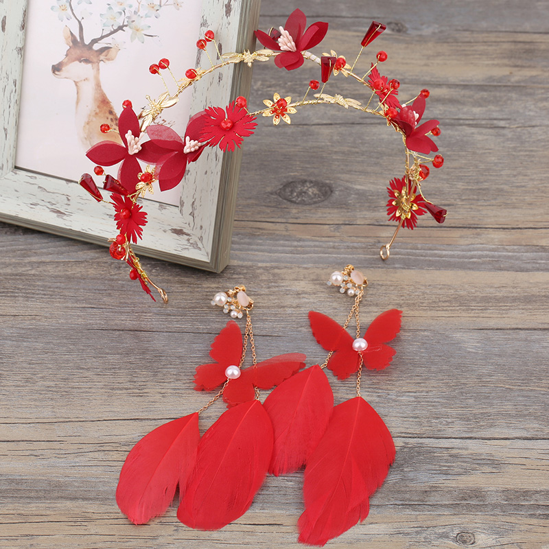 Handmade Headpiece Hair-Accessories Earrings-Sets Hairbands Red
