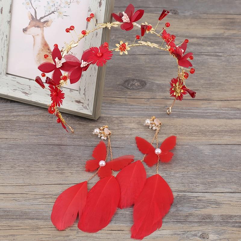 Handmade Headpiece Hair-Accessories Earrings-Sets Hairbands Red