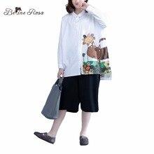 Belinerosa 2017 женщин блузка весна лето с длинным рукавом милый характер печати плюс размер топы блузка 4xl 5xl al00002