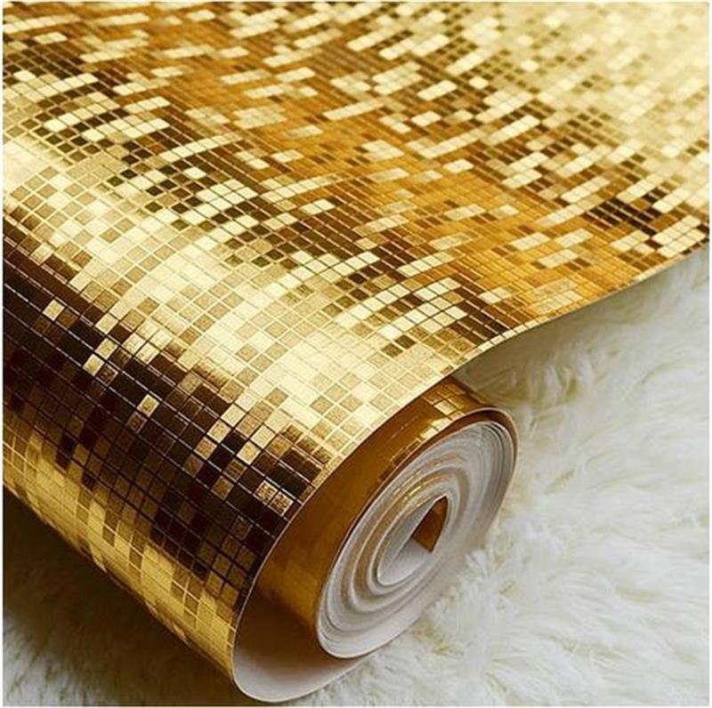 ФОТО 5.3 PVC Wallpaper Gold foil mural ceiling squares mosaic KTV hotel background wallpaper Bathroom Kitchen Waterproof reflective
