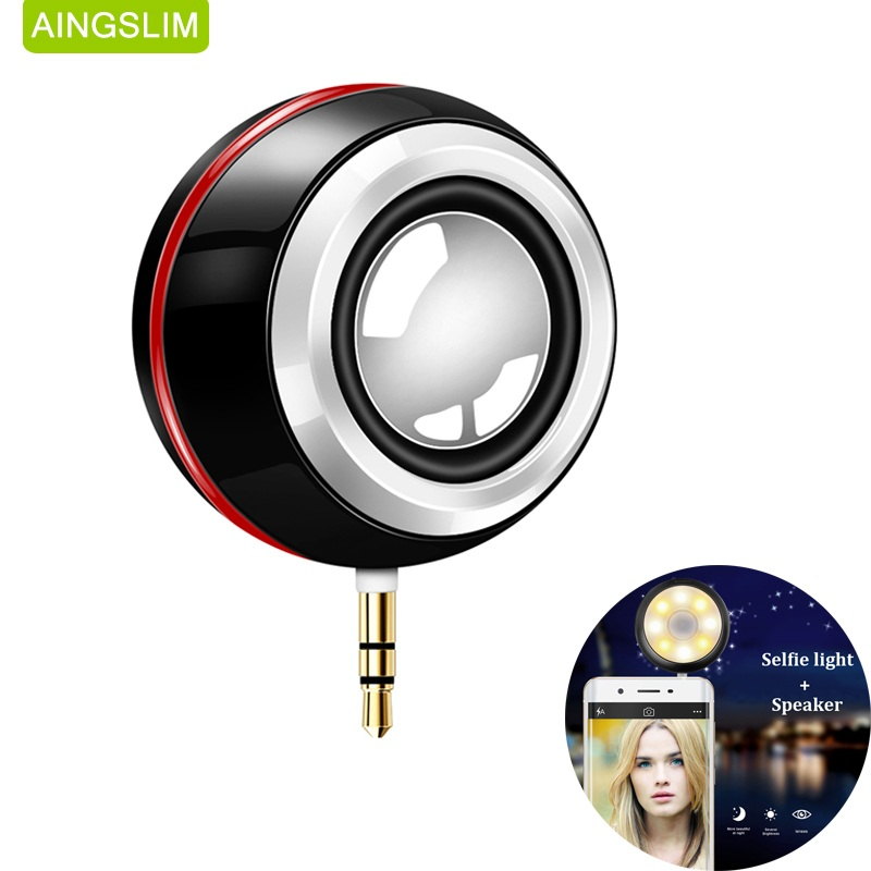 Portable 3.5mm AUX Audio Jack  Mini Wireless Speaker Clear Bass Speaker With Selfie Light Rechargeable for Phone Pad Laptop PC