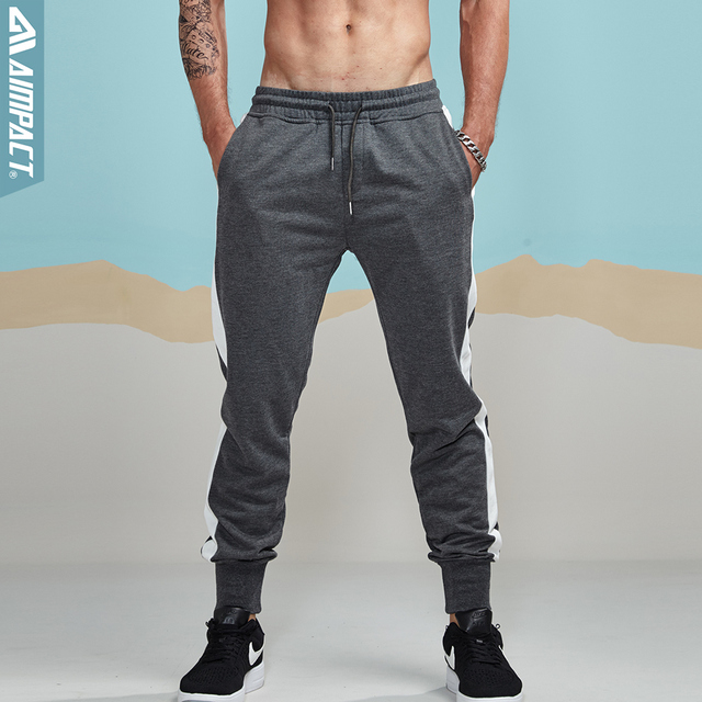 9238bdb7f Aimpact 2018 New Jogger Pants Men Cotton Striped Patchwork Sweatpants Man  Fitted Track Pants Men Active Casual Trousers AM5007