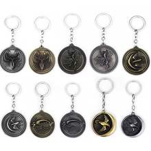 Movie Game Of Throne Keychains Wolf Head Bird Round Badge Pendant Keyrings Women Men Car Accessories Fashion Jewelry(China)