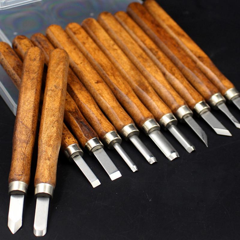 3\/4\/5\/8\/10\/12Pcs Wood Carving Hand Chisel Tool Set Woodworking Professional Carving Knife Set-in
