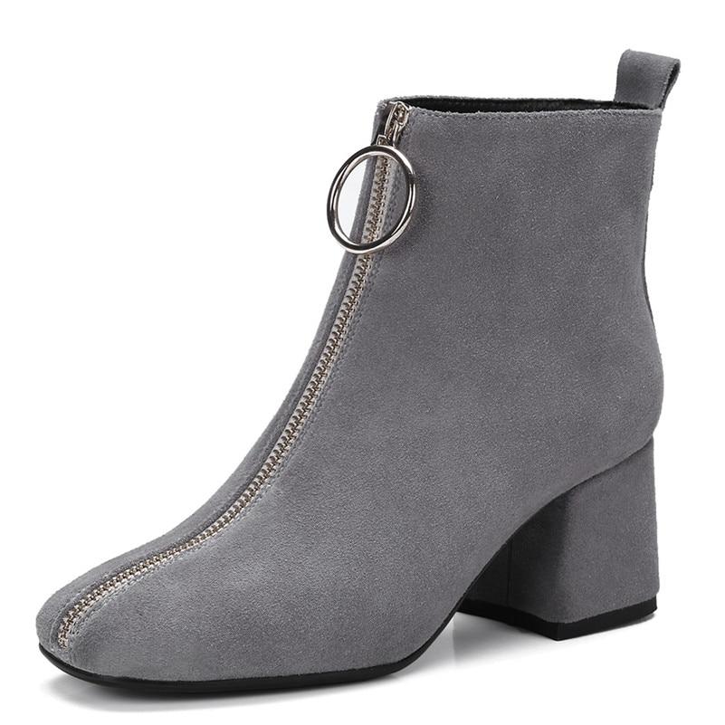 Vaca Para gris Martin Otoño Punta Ante Negro Conasco Cálidas Nuevas Zapatos De Oficina Tobillo Cuadrada Invierno Botas Mujer Marca Altas xHt1tq