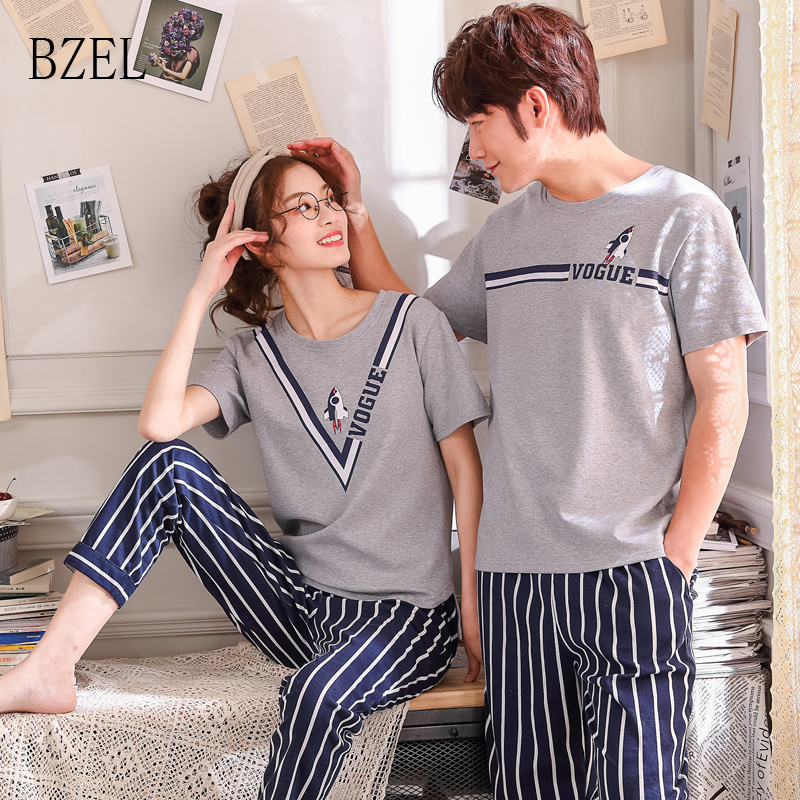 BZEL New Fashion Couple Clothes Summer Cool Women T-shirt Cotton Pajamas Suits/Lovers Clothes O-Neck Pijama Striped Pants Nighty