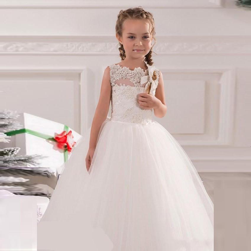 165fddb977b Lovely White Flower Girl Wedding Gown Lace AppliquesBeaded For Kids Floor  Length Hot Sale Tulle Flower girl Dress