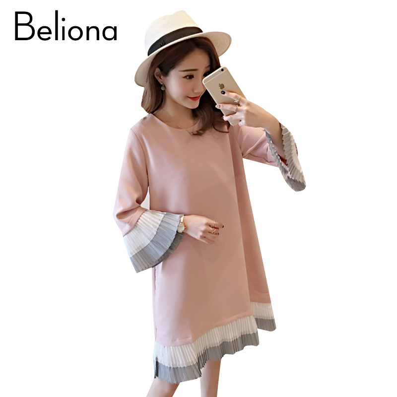 2018 Spring Stitching Maternity Clothing Brief Pregnancy Dress Cotton Maternity Clothes For Pregnant Women Premama