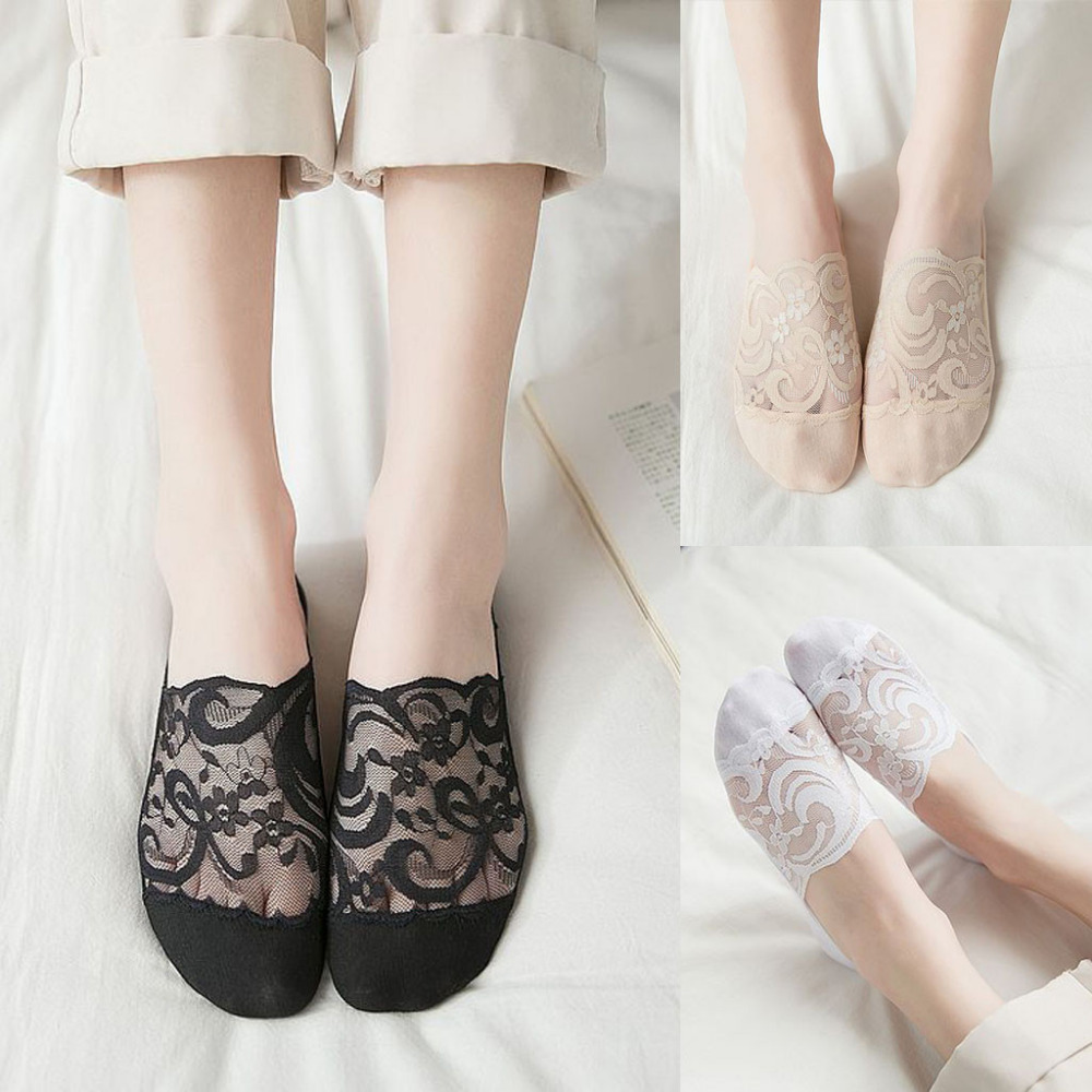 Womens Cotton Blend Lace Antiskid Invisible Low Cut Socks Toe Ankle Sockshort socks for womencalcetines mujernon slip socks